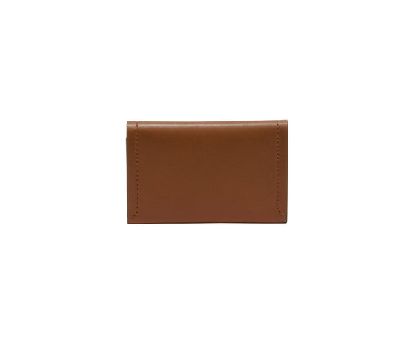 Novae Res Double Fold Wallet in Brown Leather with Gold Hardware Front and Back View
