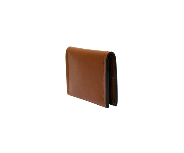 Novae Res Double Fold Wallet in Brown Leather with Gold Hardware Side View