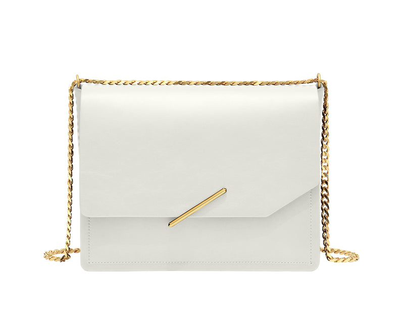 Novae Res Jemison Major Leather Handbag made with White Leather and Gold Hardware with Chain Strap Front View