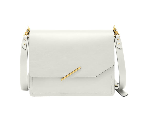 Novae Res Jemison Major Leather Handbag made with White Leather and Gold Hardware with Crossbody Strap Front View