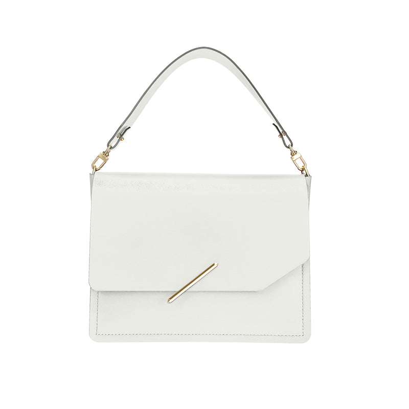 Novae Res Jemison Major Leather Handbag made with White Leather and Gold Hardware with Short Strap Front View