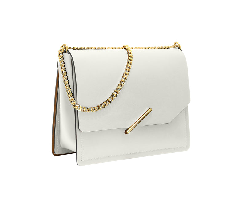 Novae Res Jemison Major Leather Handbag made with White Leather and Gold Hardware with Chain Strap Profile View