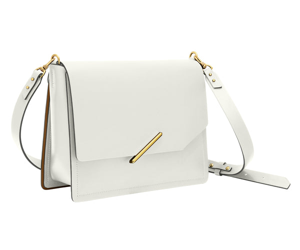 Novae Res Jemison Major Leather Handbag made with White Leather and Gold Hardware with Crossbody Strap Profile View