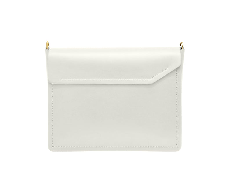 Novae Res Jemison Major Leather Handbag made with White Leather and Gold Hardware with Short Strap Back View