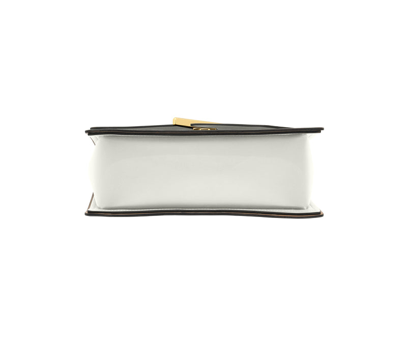 Novae Res Jemison Major Leather Handbag made with White Leather and Gold Hardware with Wide Long Strap Bottom View