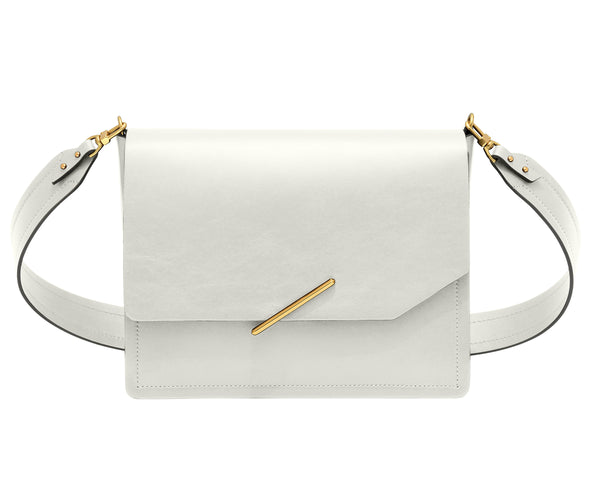 Novae Res Jemison Major Leather Handbag made with White Leather and Gold Hardware with Wide Long Strap Front View