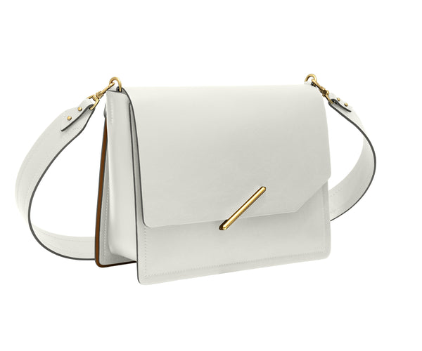 Novae Res Jemison Major Leather Handbag made with White Leather and Gold Hardware with Wide Long Strap Profile View