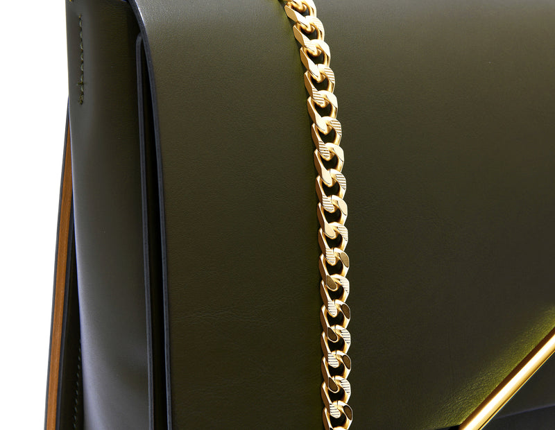 Novae Res Chain Handbag Strap made with Green Leather and Gold Hardware