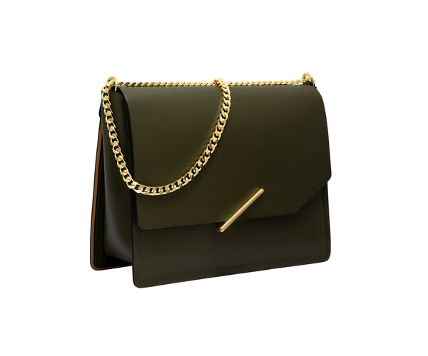 Novae Res Jemison Major Leather Handbag made with Green Leather and Gold Hardware with Chain Strap Profile View