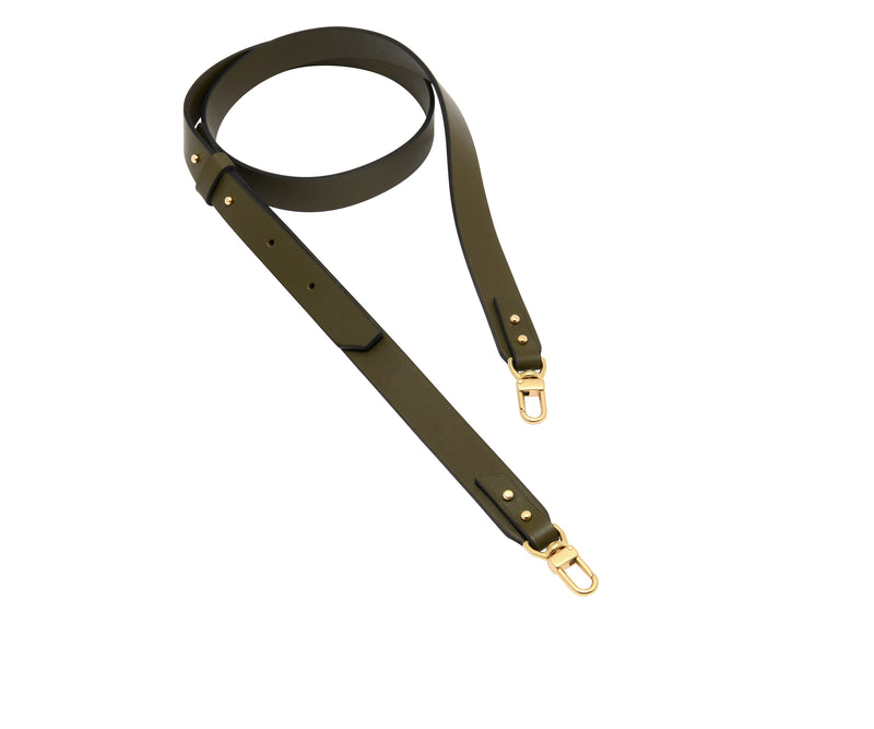 Novae Res Crossbody Handbag Strap made with Green Leather and Gold Hardware