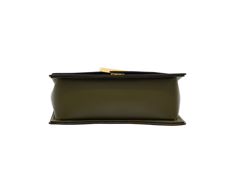 Novae Res Jemison Major Leather Handbag made with Green Leather and Gold Hardware with Crossbody Strap Bottom View