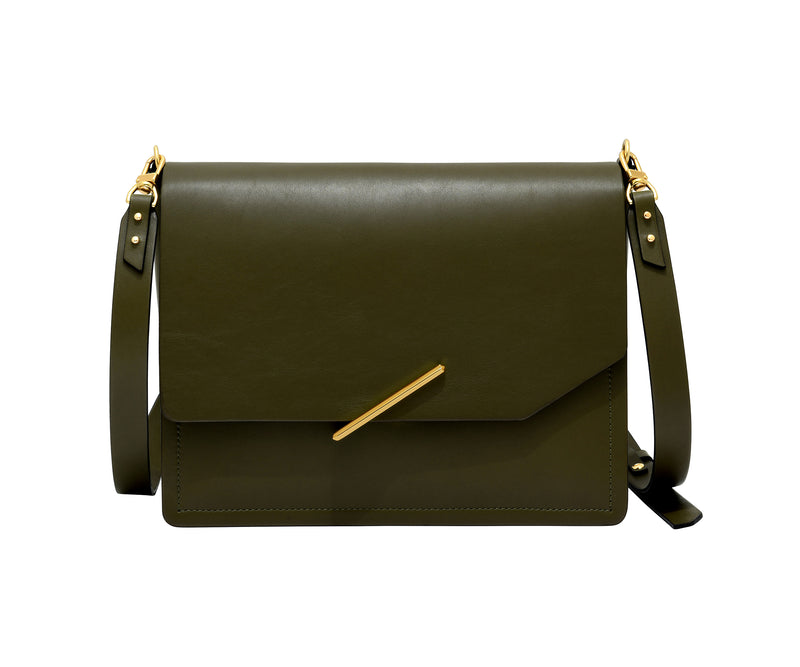Novae Res Jemison Major Leather Handbag made with Green Leather and Gold Hardware with Crossbody Strap Front View