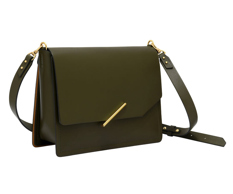 Novae Res Jemison Major Leather Handbag made with Green Leather and Gold Hardware with Crossbody Strap Profile View