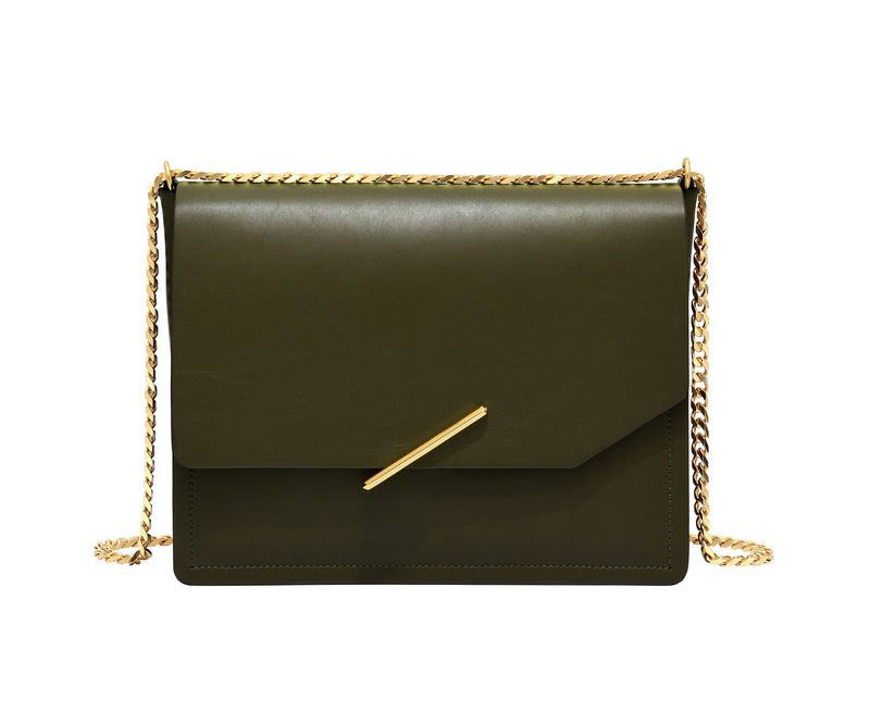 Novae Res Jemison Major Leather Handbag made with Green Leather and Gold Hardware with Chain Strap Front View