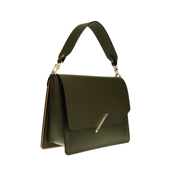 Novae Res Jemison Major Leather Handbag made with Green Leather and Gold Hardware with Short Strap Profile View