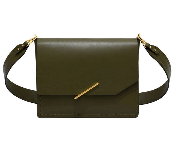 Novae Res Jemison Major Leather Handbag made with Green Leather and Gold Hardware with Wide Long Strap Front View