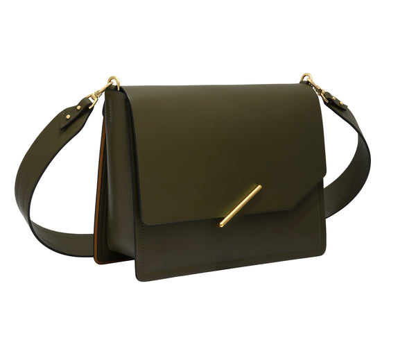 Novae Res Jemison Major Leather Handbag made with Green Leather and Gold Hardware with Wide Long Strap Profile View