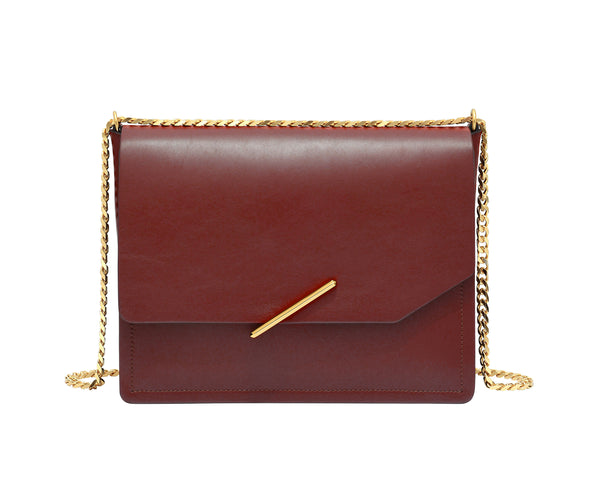 Novae Res Jemison Major Leather Handbag made with Red Leather and Gold Hardware with Chain Strap Front View