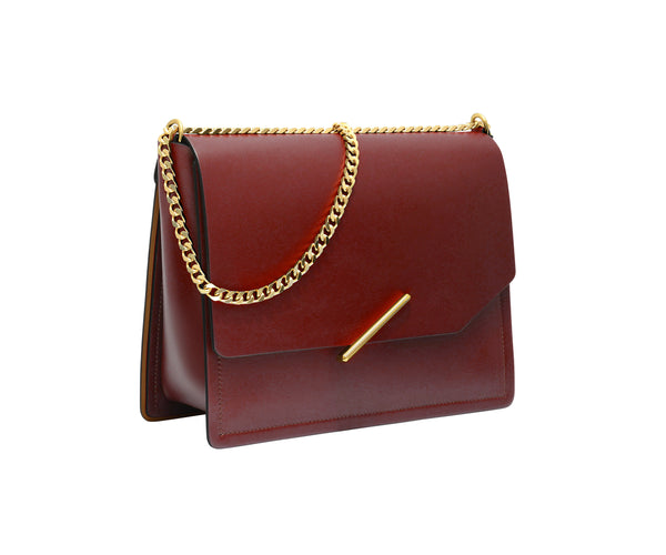 Novae Res Jemison Major Leather Handbag made with Red Leather and Gold Hardware with Chain Strap Profile View