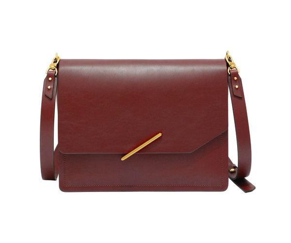 Novae Res Jemison Major Leather Handbag made with Red Leather and Gold Hardware with Crossbody Strap Front View