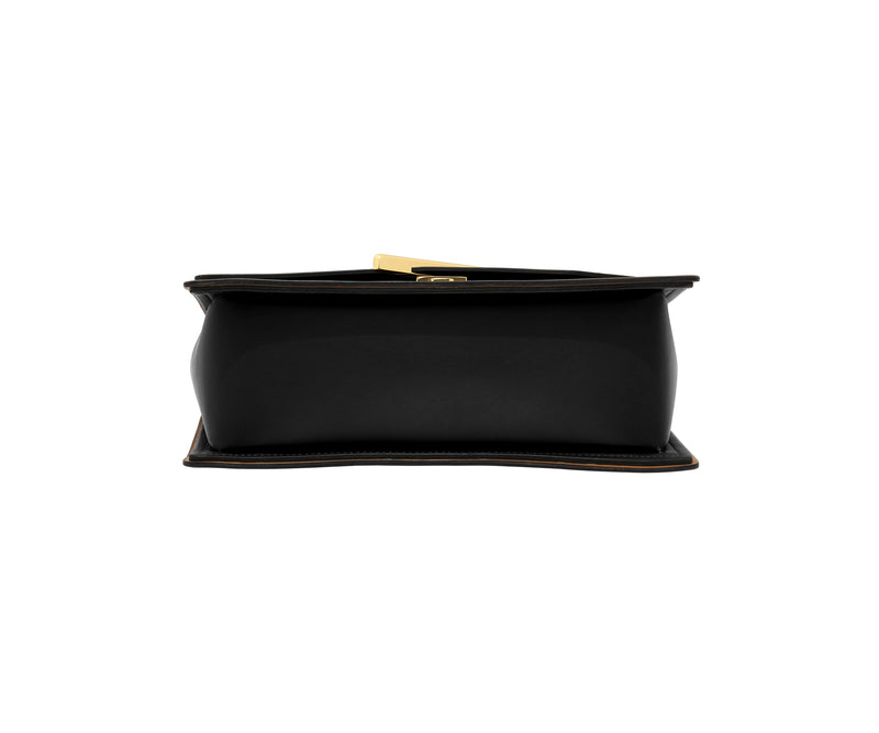 Novae Res Jemison Major Leather Handbag made with Black Leather and Gold Hardware with Chain Strap Bottom View