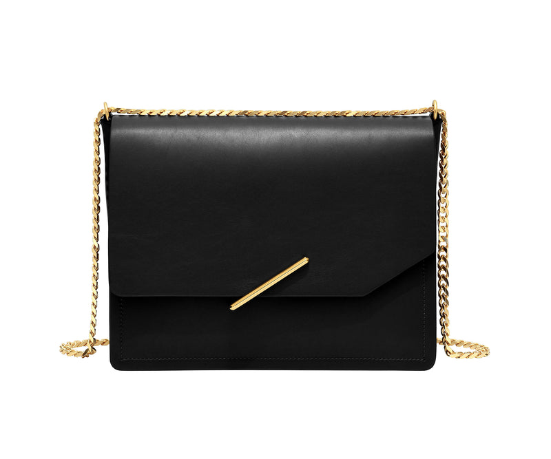 Novae Res Jemison Major Leather Handbag made with Black Leather and Gold Hardware with Chain Strap Front View