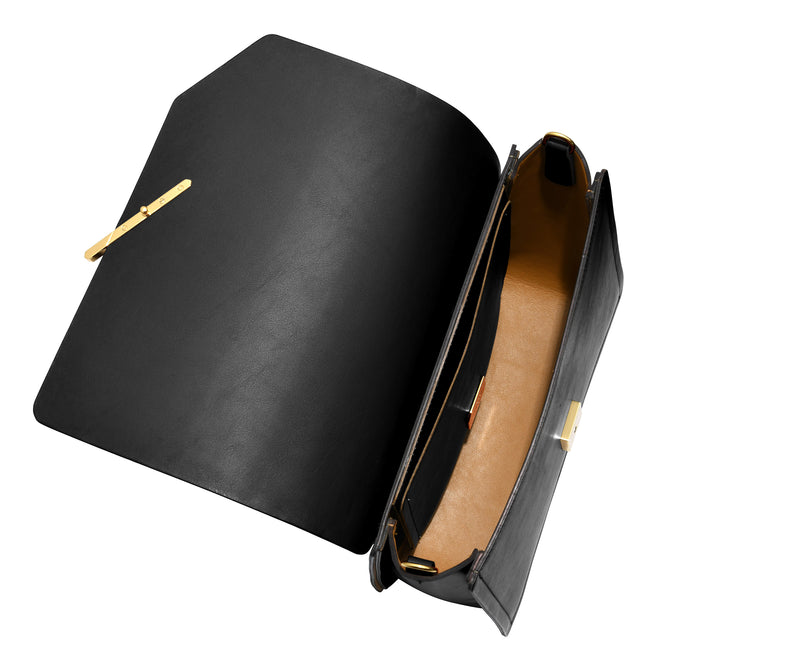 Novae Res Jemison Major Leather Handbag made with Black Leather and Gold Hardware with Chain Strap Inside View