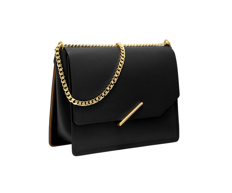Novae Res Jemison Major Leather Handbag made with Black Leather and Gold Hardware with Chain Strap Profile View