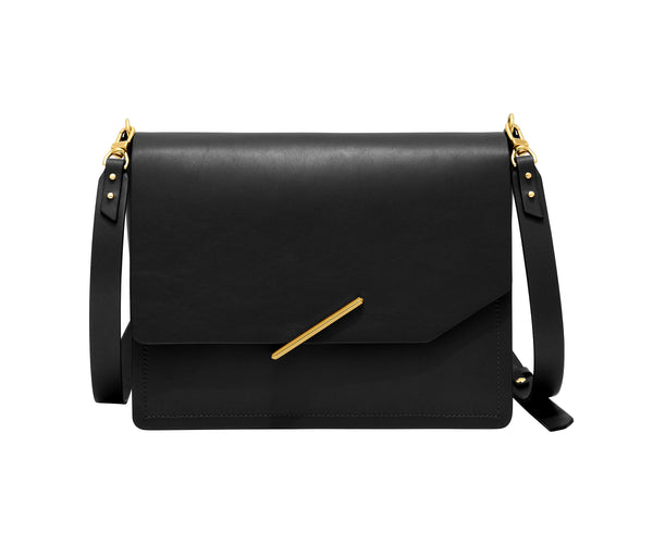 Novae Res Jemison Major Leather Handbag made with Black Leather and Gold Hardware with Crossbody Strap Front View