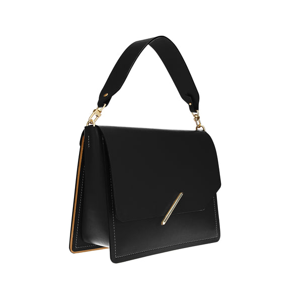 Novae Res Jemison Major Leather Handbag made with Black Leather and Gold Hardware with Short Strap Profile View