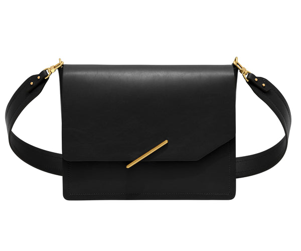 Novae Res Jemison Major Leather Handbag made with Black Leather and Gold Hardware with Wide Long Strap Front View