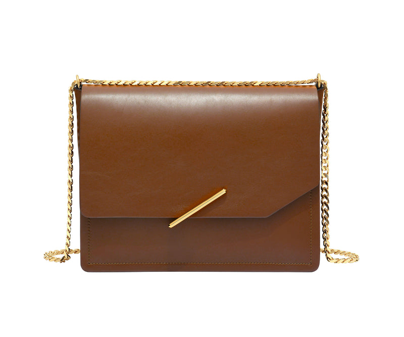 Novae Res Jemison Major Leather Handbag made with Brown Leather and Gold Hardware with Chain Strap Front View
