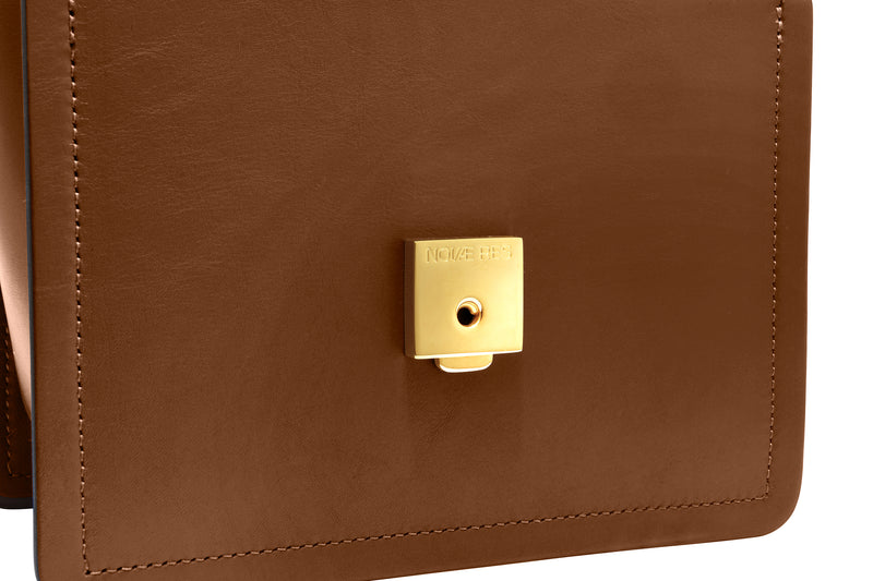 Novae Res Jemison Major Leather Handbag made with Brown Leather and Gold Hardware with Chain Strap Inside Lock View