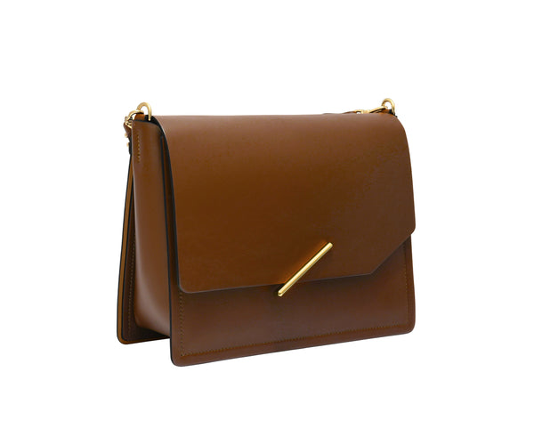 Novae Res Jemison Major Leather Handbag made with Brown Leather and Gold Hardware with Short Strap Profile View