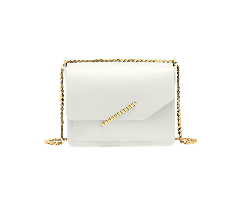 Novae Res Jemison Minor Leather Handbag made in White Leather and Gold Hardware with Chain Strap Front View