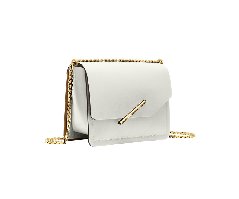 Novae Res Jemison Minor Leather Handbag made in White Leather and Gold Hardware with Chain Strap Profile View