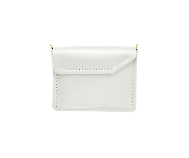 Novae Res Jemison Minor Leather Handbag made in White Leather and Gold Hardware with Crossbody Strap Back View