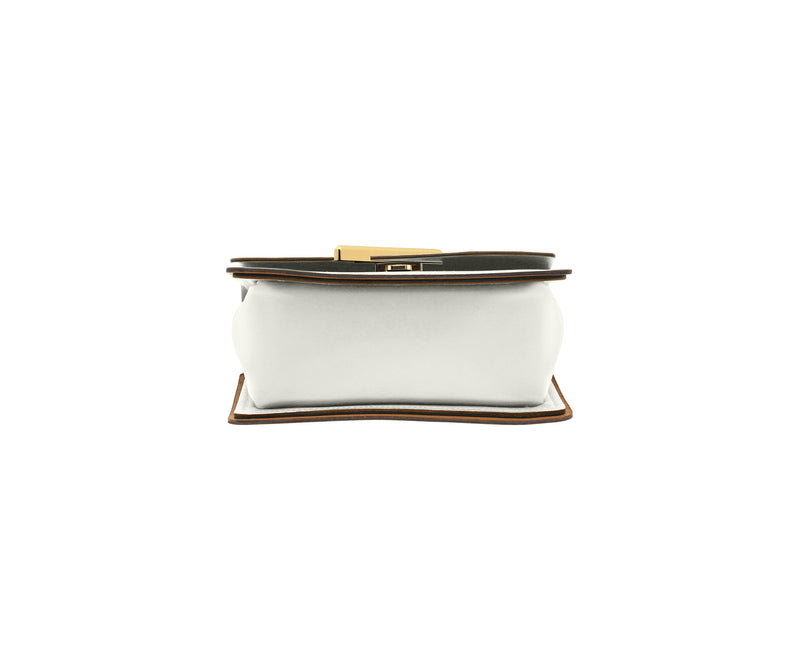Novae Res Jemison Minor Leather Handbag made in White Leather and Gold Hardware with Crossbody Strap Bottom View
