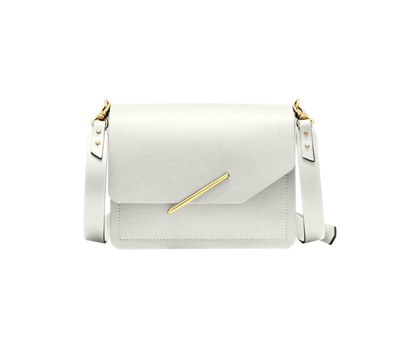 Novae Res Jemison Minor Leather Handbag made in White Leather and Gold Hardware with Crossbody Strap Front View