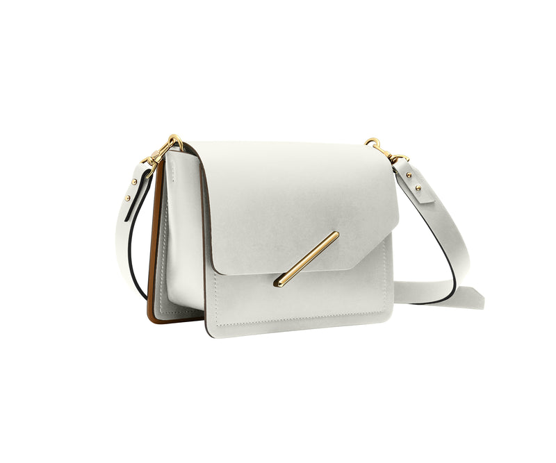 Novae Res Jemison Minor Leather Handbag made in White Leather and Gold Hardware with Crossbody Strap Profile View