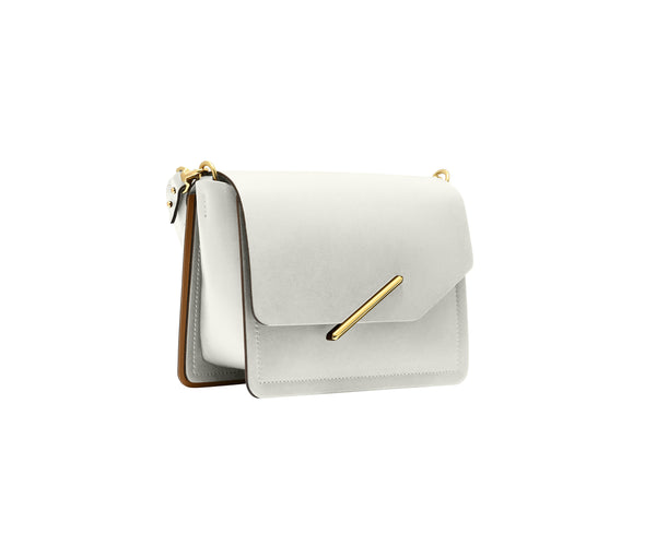 Novae Res Jemison Minor Leather Handbag made in White Leather and Gold Hardware with Short Strap Profile View