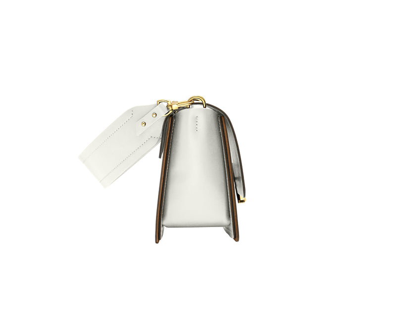 Novae Res Jemison Minor Leather Handbag made in White Leather and Gold Hardware with Short Strap Side View