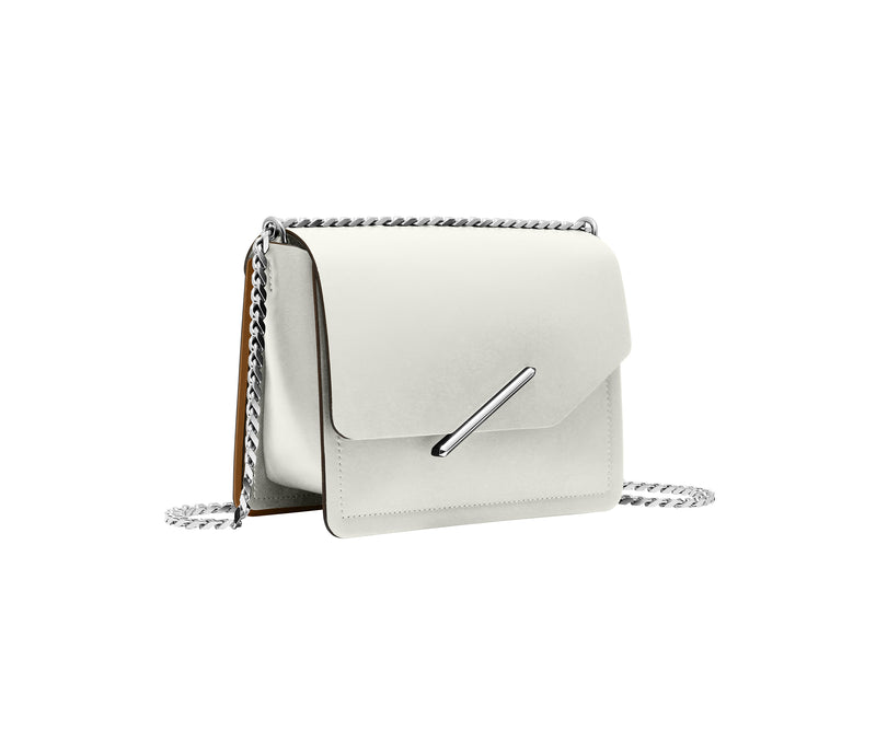 Novae Res Jemison Minor Leather Handbag made in White Leather and Silver Hardware with Chain Strap Profile View