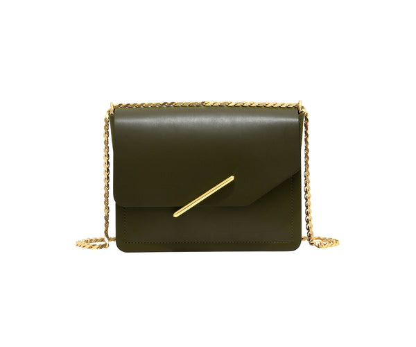 Novae Res Jemison Minor Leather Handbag made in Green Leather and Gold Hardware with Chain Strap Front View