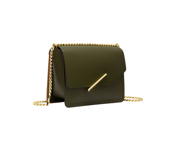 Novae Res Jemison Minor Leather Handbag made in Green Leather and Gold Hardware with Chain Strap Profile View