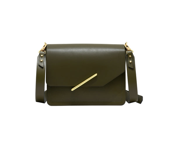 Novae Res Jemison Minor Leather Handbag made in Green Leather and Gold Hardware with Crossbody Strap Front View