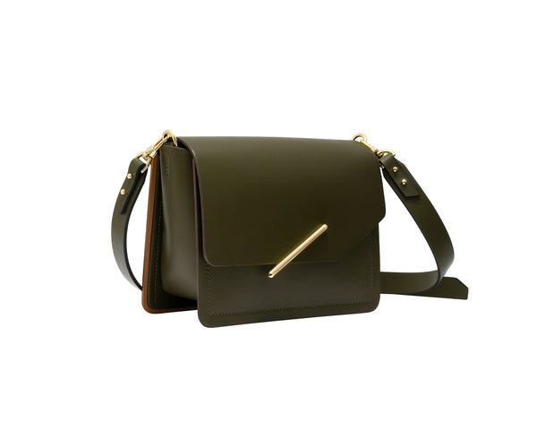 Novae Res Jemison Minor Leather Handbag made in Green Leather and Gold Hardware with Crossbody Strap Profile View