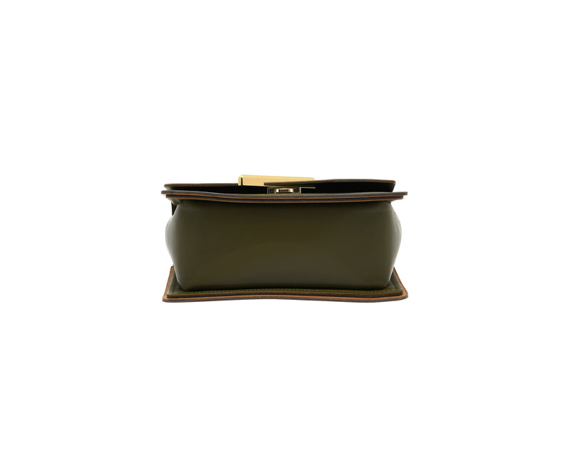 Novae Res Jemison Minor Leather Handbag made in Green Leather and Gold Hardware with Short Strap Bottom View