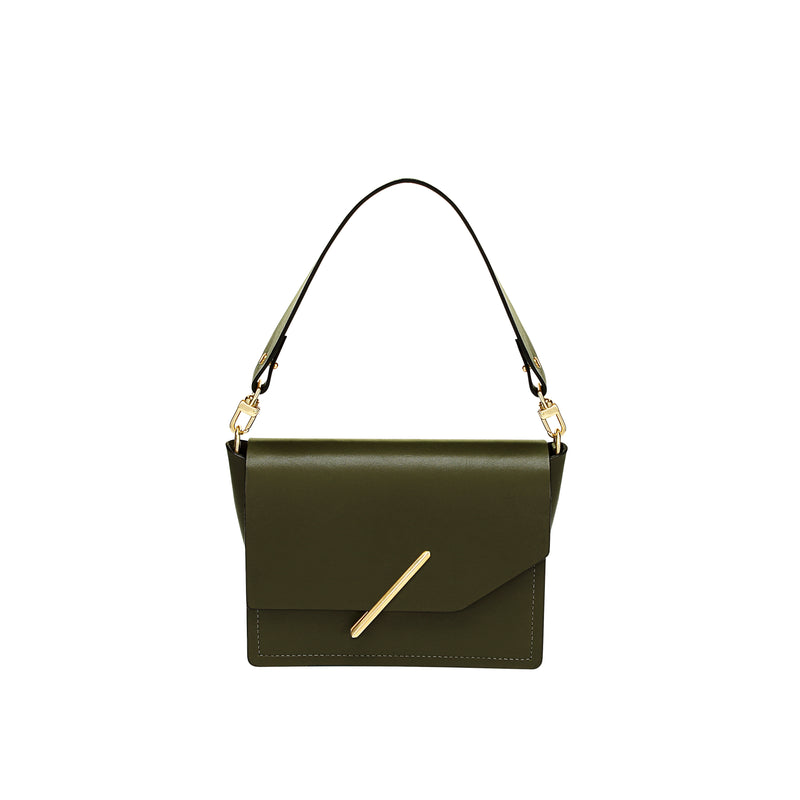 Novae Res Jemison Minor Leather Handbag made in Green Leather and Gold Hardware with Short Strap Front View