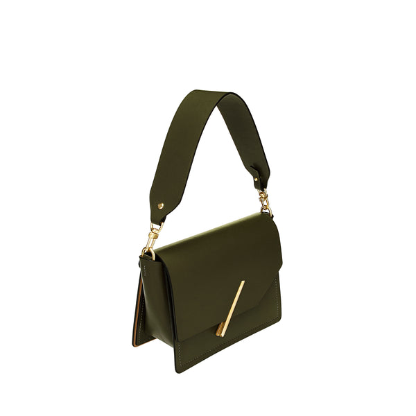 Novae Res Jemison Minor Leather Handbag made in Green Leather and Gold Hardware with Short Strap Profile View